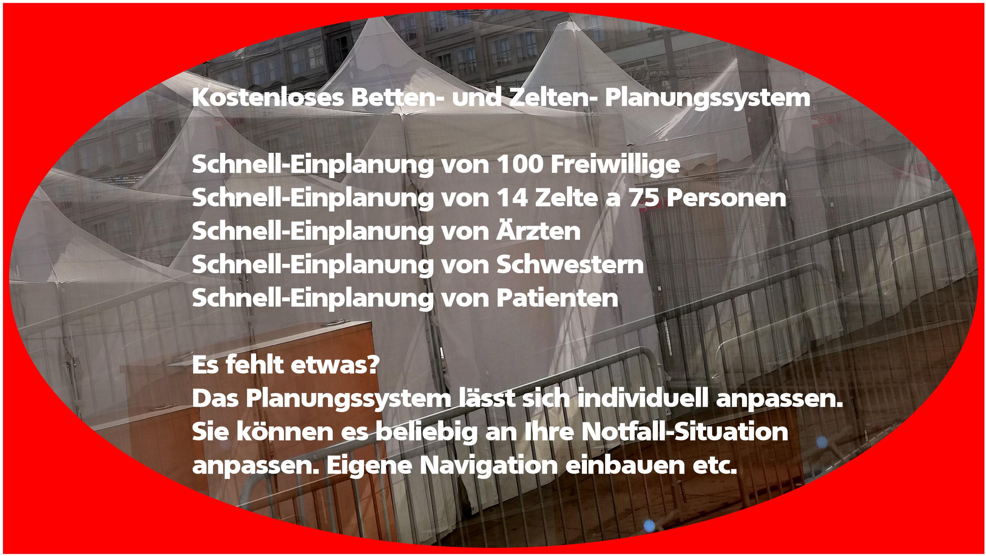 Zelt und Betten-Notfall-System